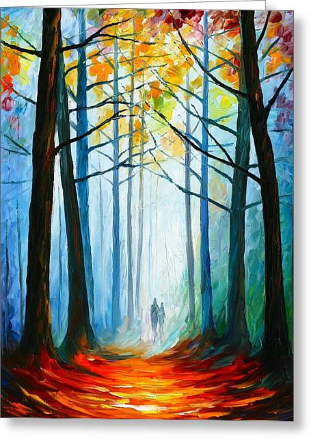 Certificates Greeting Cards - Wise Forest Greeting Card by Leonid Afremov