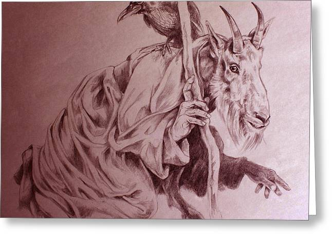 Goat Drawings Greeting Cards - Wise Old Goat Greeting Card by Derrick Higgins