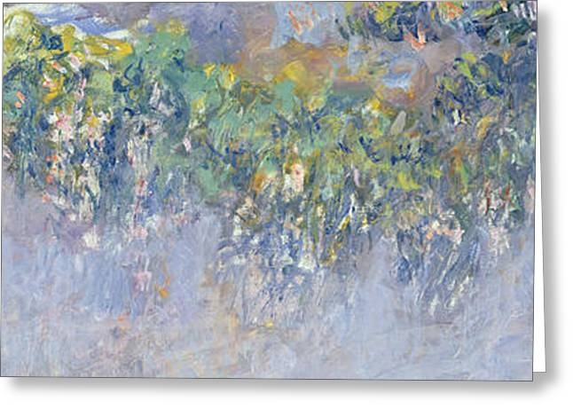 Natural Beauty Paintings Greeting Cards - Wisteria Greeting Card by Claude Monet