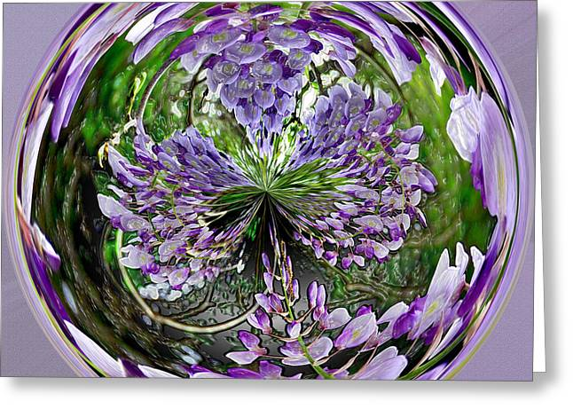 Wisteria Orb Greeting Card by Jeff McJunkin
