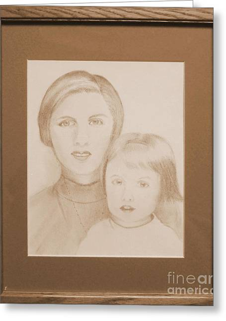 Young Lady Pastels Greeting Cards - Woman and Child Greeting Card by Alicia  Fowler