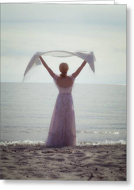 Anonymous Greeting Cards - Woman At The Beach Greeting Card by Joana Kruse