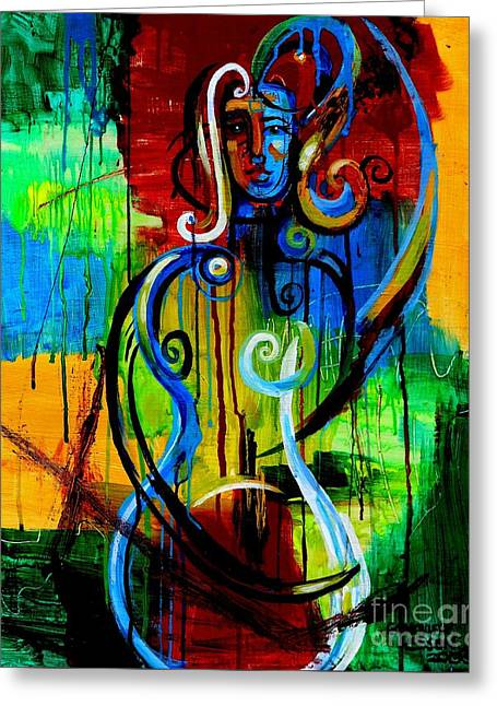 Woman Bass Greeting Card by Genevieve Esson