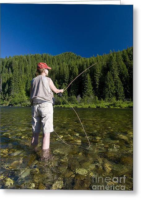 Fishing Creek Greeting Cards - Woman Fly Fishing, Kelly Creek Greeting Card by William H. Mullins