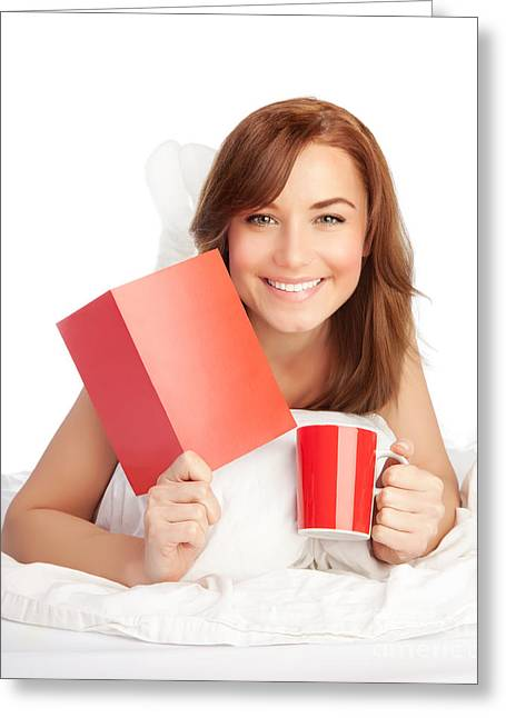 Coffee Drinking Greeting Cards - Woman in love Greeting Card by Anna Omelchenko