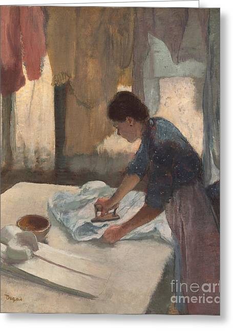 Chore Greeting Cards - Woman Ironing Greeting Card by Edgar Degas