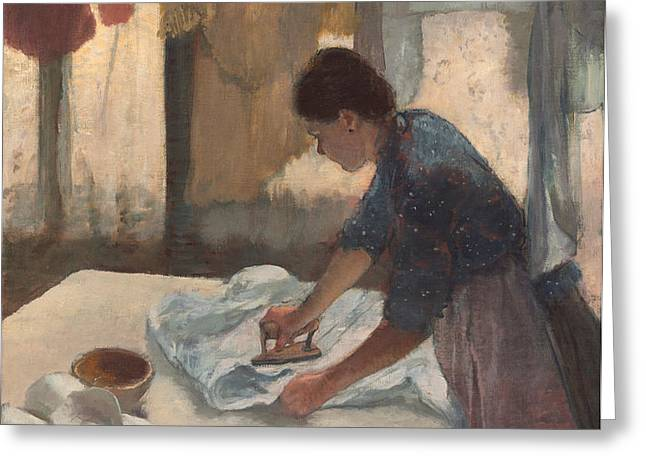 Woman Ironing Greeting Card by Edgar Degas