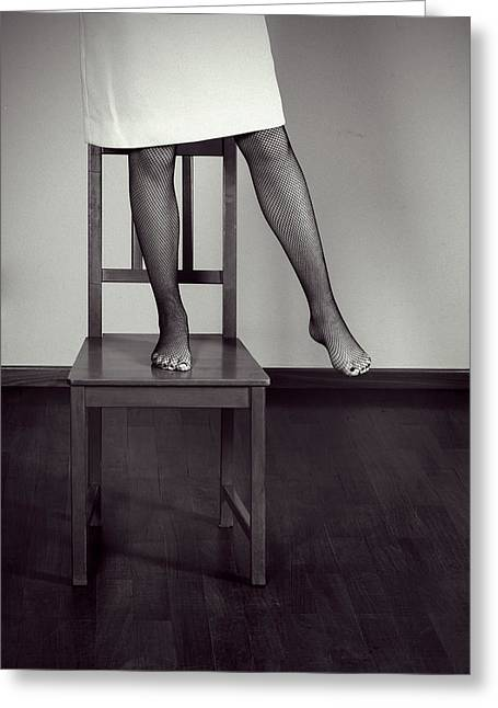 Foot Stool Greeting Cards - Woman On Chair Greeting Card by Joana Kruse