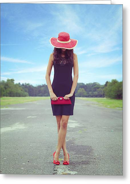 Sun Hat Greeting Cards - Woman On Street Greeting Card by Joana Kruse