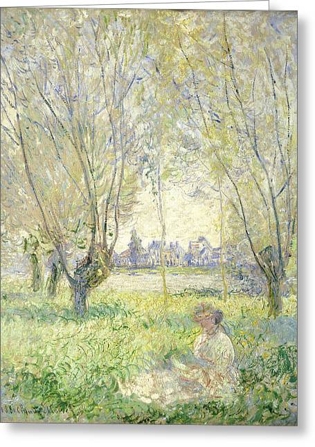 Recently Sold -  - Purple Robe Greeting Cards - Woman Seated under the Willows Greeting Card by Claude Monet