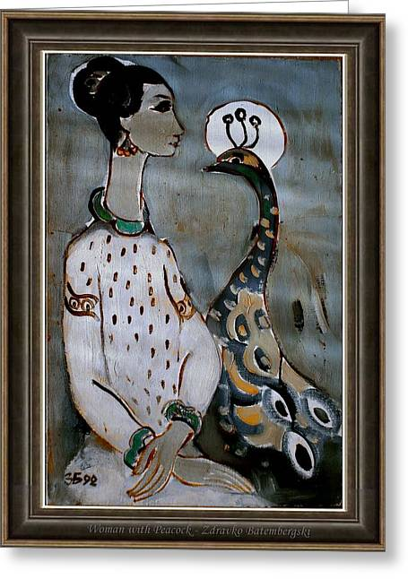 Pemaro Greeting Cards - Woman with Peacock Greeting Card by Zdravko Batembergski