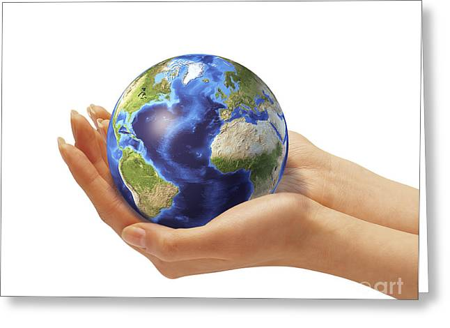 Caring Mother Greeting Cards - Womans Hands Holding An Earth Globe Greeting Card by Leonello Calvetti