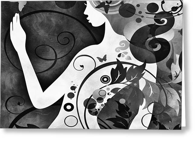 Wonderous Greeting Cards - Wonder BW Greeting Card by Angelina Vick