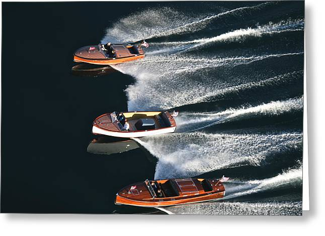 Wooden Boat Aerial Greeting Card by Steven Lapkin