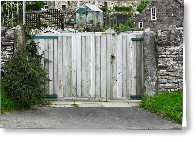 Knob Greeting Cards - Wooden gate Greeting Card by Tom Gowanlock