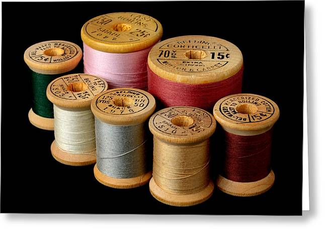 Spool Greeting Cards - Wooden Spools Greeting Card by Jim Hughes