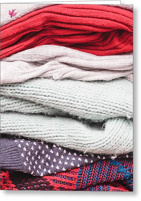 Knitwear Greeting Cards - Wool jumpers  Greeting Card by Tom Gowanlock