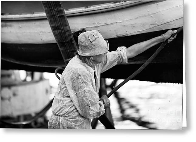 Artist Working Photo Photographs Greeting Cards - Working on the Boat Greeting Card by John Rizzuto