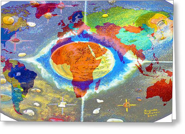 Barack Greeting Cards - World Map and Barack Obama Stars Greeting Card by Augusta Stylianou
