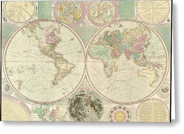 Antique Digital Art Greeting Cards - World Map Greeting Card by Gary Grayson