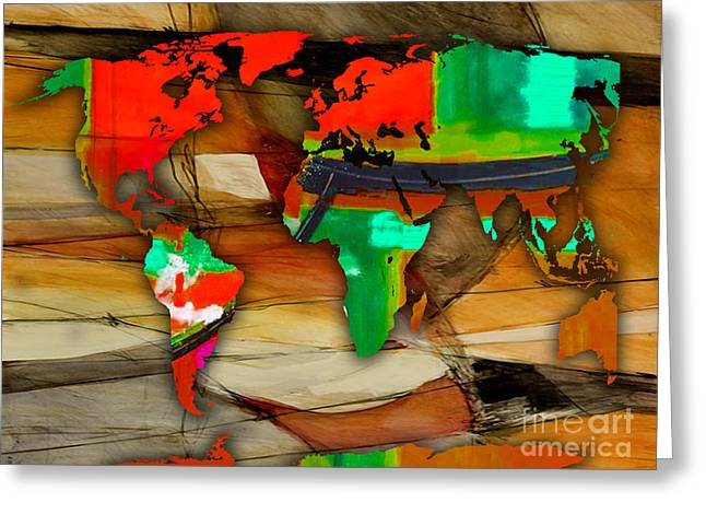 Atlas Greeting Cards - World Map Watercolor Greeting Card by Marvin Blaine