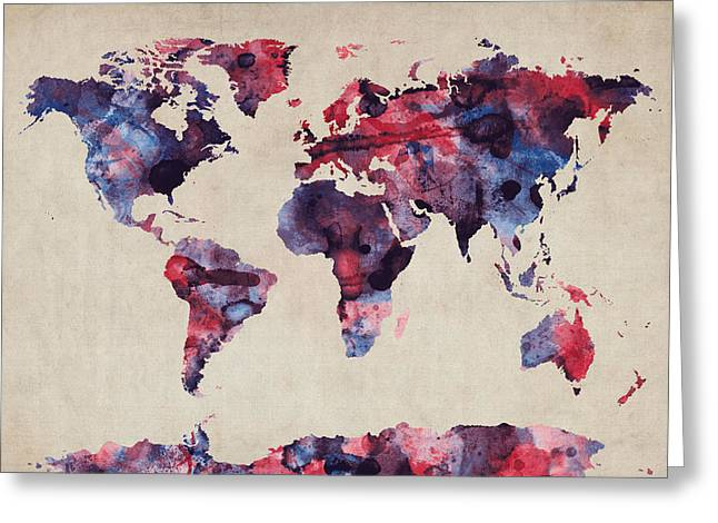 Cartography Digital Greeting Cards - World Map Watercolor Greeting Card by Michael Tompsett