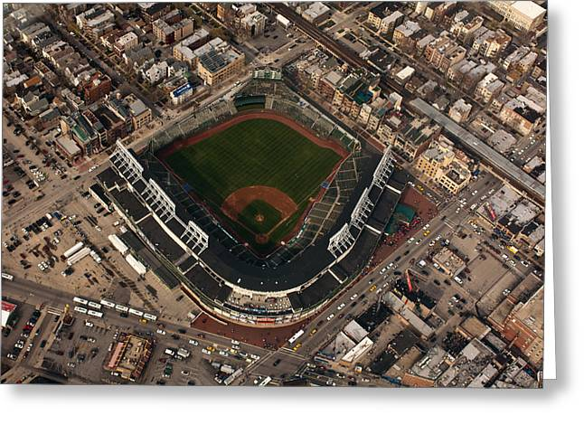 Friendly Confines Greeting Cards - Wrigley Field from the Air Greeting Card by Anthony Doudt