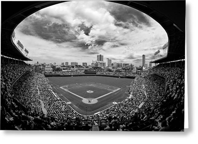 Buildings Greeting Cards - Wrigley Field  Greeting Card by Greg Wyatt