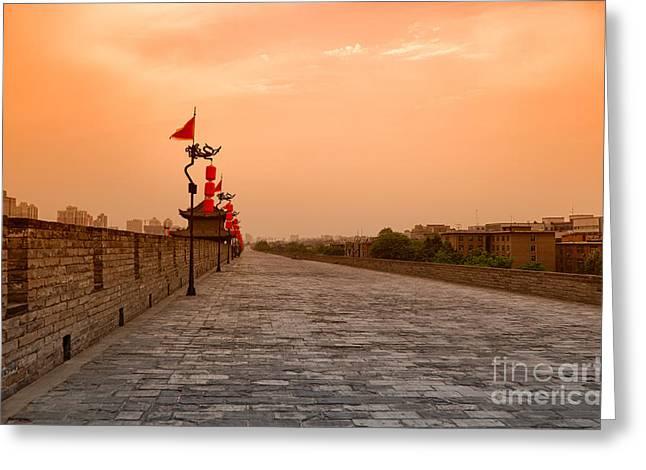Shaanxi Province Greeting Cards - XiAn City Wall China Greeting Card by Fototrav Print