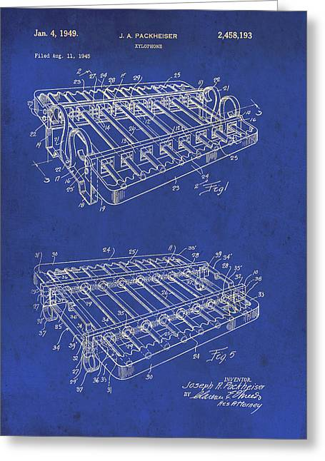 Xylophone Greeting Cards - Xylophone Patent 1949 Greeting Card by Mountain Dreams