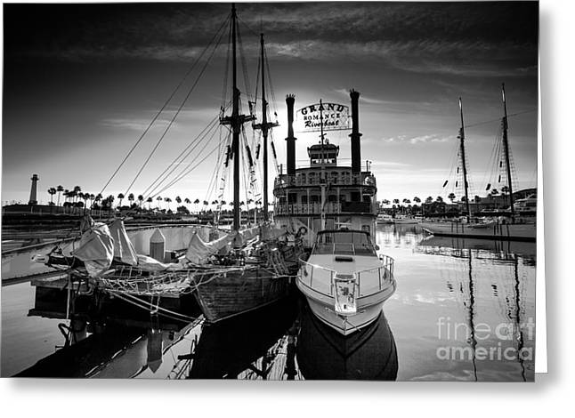 Ocean Art Photos Greeting Cards - Yacht at the pier on a sunny day Greeting Card by Sviatlana Kandybovich