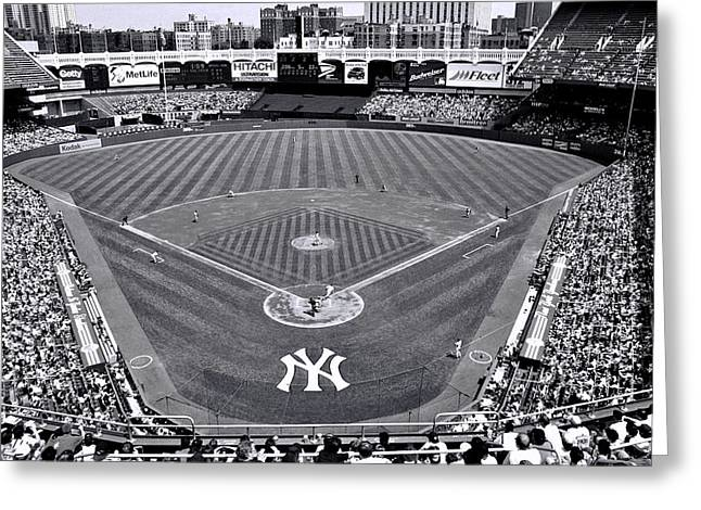 Old Pitcher Greeting Cards - Yankee Stadium B and W Greeting Card by Allen Beatty