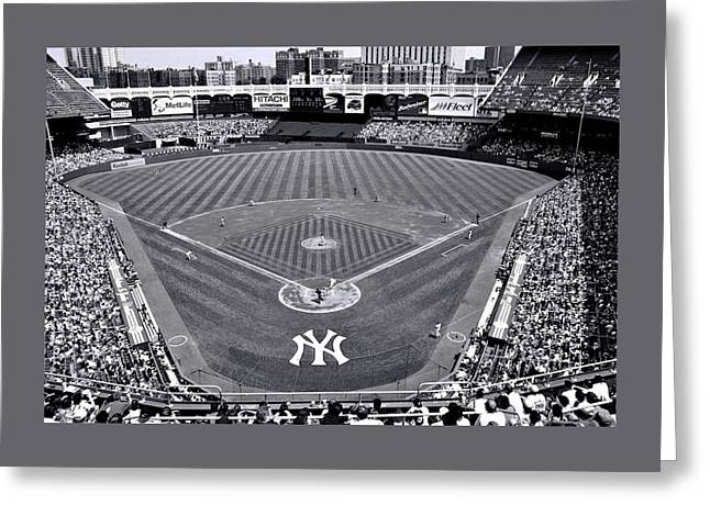 Yankee Stadium Bleachers Greeting Cards - Yankee Stadium B and W Greeting Card by Allen Beatty