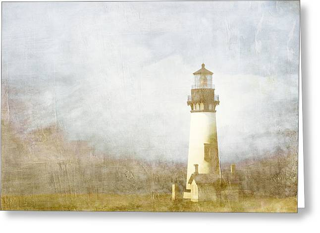 Coastal Lighthouses Greeting Cards - Yaquina Head Light Greeting Card by Carol Leigh