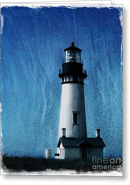Pacific Northwest Digital Art Greeting Cards - Yaquina Head Lighthouse Greeting Card by Elena Nosyreva