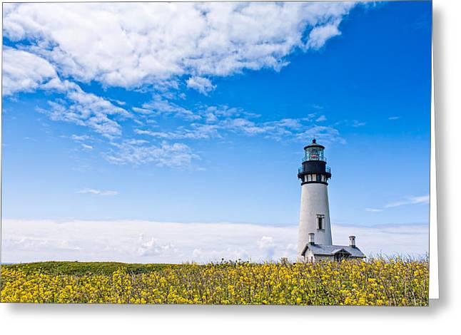 Oregon Lighthouse Image Greeting Cards - Yaquina Head Lighthouse Greeting Card by Patricia  Davidson