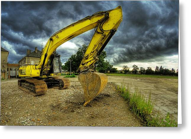 Duty Greeting Cards - Yellow excavator Greeting Card by Jaroslaw Grudzinski