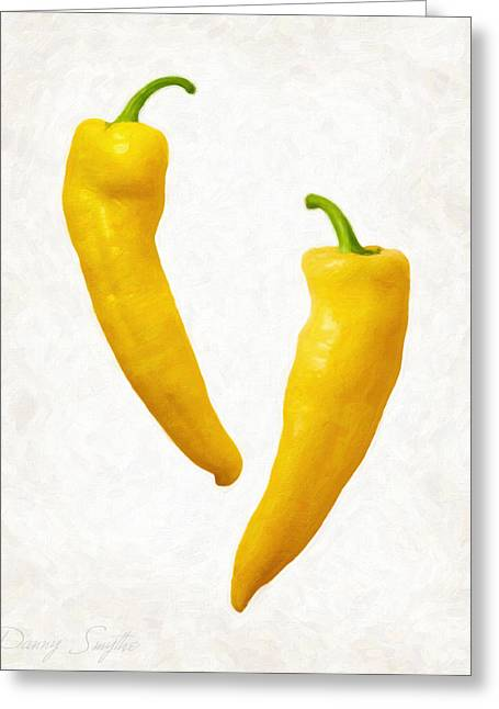 Fresh Food Greeting Cards - Yellow Hot Peppers  Greeting Card by Danny Smythe