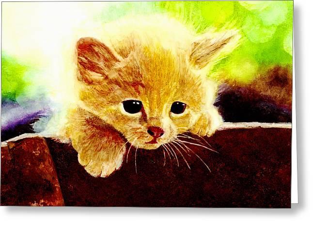 Kitten Greeting Cards - Yellow Kitten Greeting Card by Hailey E Herrera