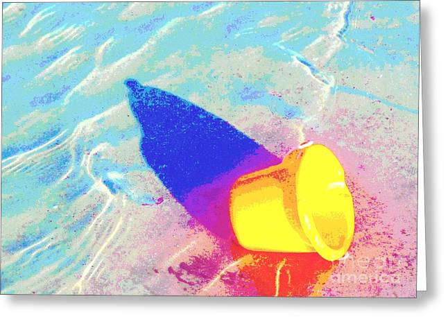 Sand Art Greeting Cards - Yellow Pail Greeting Card by Valerie Reeves