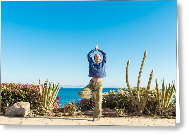 Personal Trainer Greeting Cards - Yoga practice Greeting Card by Nikita Buida