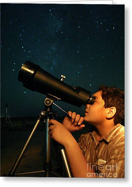 Astronomers Greeting Cards - Young Astronomer Observing The Sky Greeting Card by Babak Tafreshi