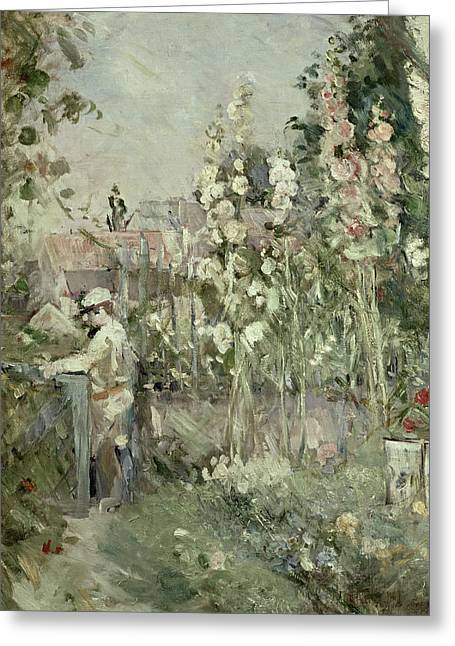 Flower Bed Greeting Cards - Young Boy in the Hollyhocks Greeting Card by Berthe Morisot