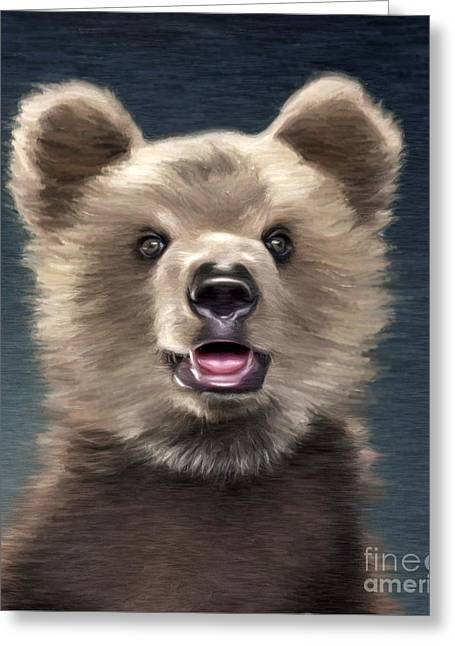 Kodiak Digital Greeting Cards - Young Brown Bear Greeting Card by Aleksey Tugolukov