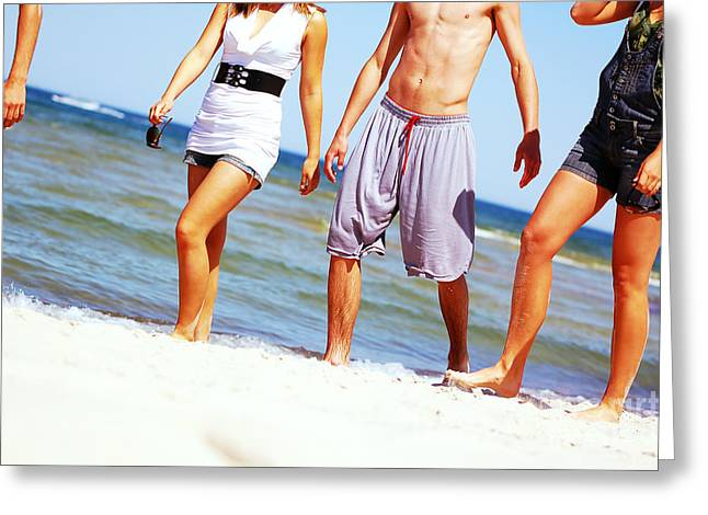 Young Friends On The Summer Beach Greeting Card by Michal Bednarek