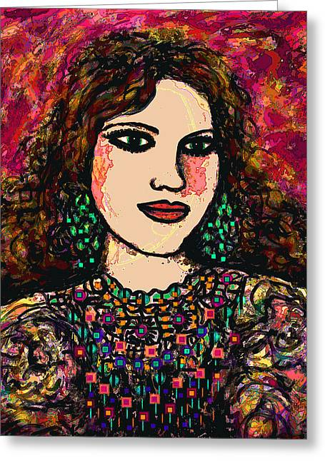 Magenta Dress Greeting Cards - Young Girl Greeting Card by Natalie Holland
