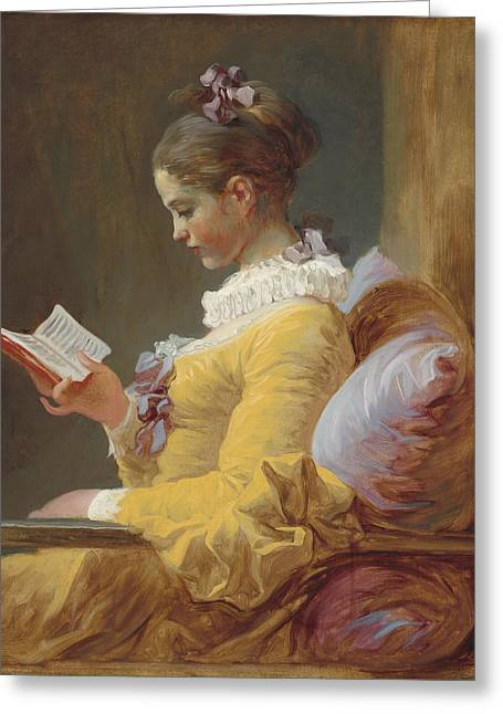 Young Girl Reading Greeting Card by Jean-Honore Fragonard