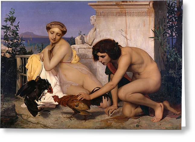 Young Greeks Attending A Cock Fight Greeting Card by Jean-Leon Gerome