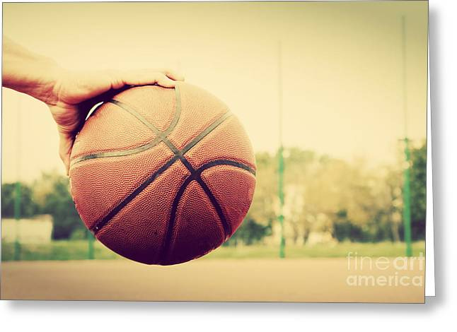 Basket Ball Game Greeting Cards - Young man on basketball court Greeting Card by Michal Bednarek