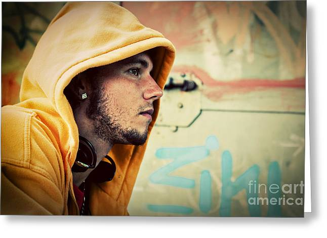 Adolescence Greeting Cards - Young man portrait on graffiti grunge wall Greeting Card by Michal Bednarek